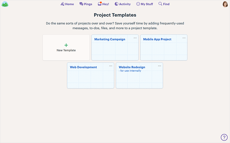 project templates in a project management software